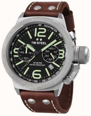 TW Steel correa de cuero marrón crono cantina 50mm para hombre CS24