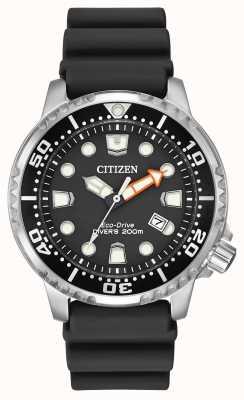 Citizen correa de caucho negro de conducción ecológica promaster buceador BN0150-28E