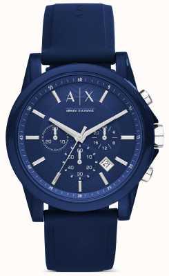 Armani Exchange azul de silicona cronógrafo AX1327