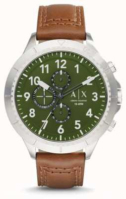 Armani Exchange Para hombre de la correa de cuero de color marrón claro AX1758