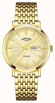 Rotary Para hombre chapado en oro esfera de oro GB05303/03