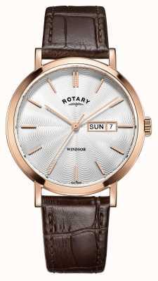 Rotary Para hombre correa de cuero marrón de oro rosa plateado GS05304/02
