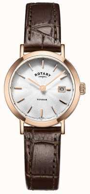 Rotary Para mujer de cuero marrón reloj de plata de la correa LS05304/02