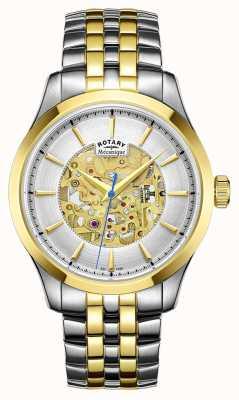Rotary Dos de oro para hombre de la correa del tono plateado caso GB05033/06