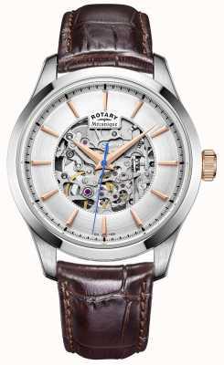 Rotary Dial de plata para hombre de la correa de cuero marrón GS05032/06