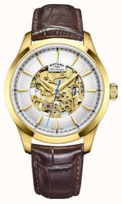 Rotary Para hombre de la correa de cuero marrón co GS05035/03