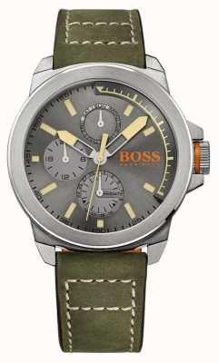 Hugo Boss Orange Mens esfera gris correa de cuero verde 1513318