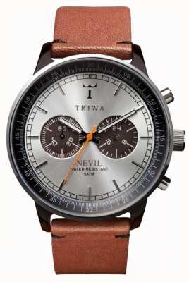 Triwa correa de cuero marrón esfera de plata unisex NEAC102-ST010212