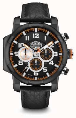Harley Davidson Para hombre de cuero negro del cronógrafo de la correa 78B139