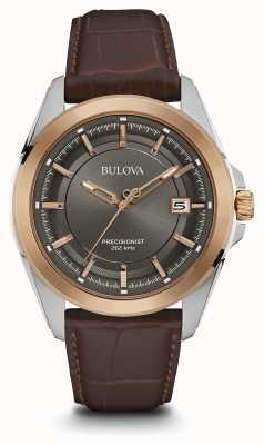 Bulova Mens esfera gris correa de color marrón caja de oro rosa 98B267