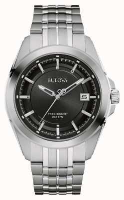 Bulova Mens esfera de color negro correa de plata de acero inoxidable 96B252