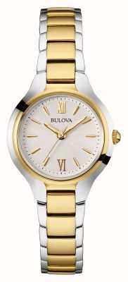Bulova Para mujer esfera blanca correa de dos tonos 98W221