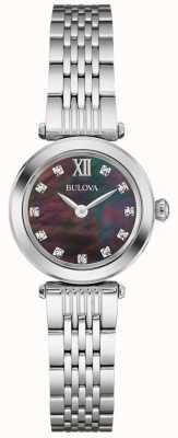 Bulova correa de metal para mujer madre negro de la línea de perlas 96S169