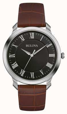 Bulova Para hombre de la correa de cuero marrón esfera de color negro 96A184