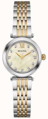 Bulova Para mujer madre correa de dos tonos de la línea de perlas 98S154