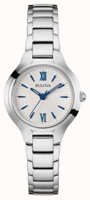 Bulova Para mujer esfera blanca correa de plata 96L215