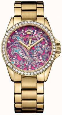 Juicy Couture Para mujer selector de patrón de color rosa correa de metal de oro 1901424
