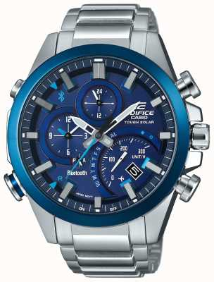 Casio Edificio bluetooth sincronización resistente solar smartwatch azul EQB-501DB-2AMER