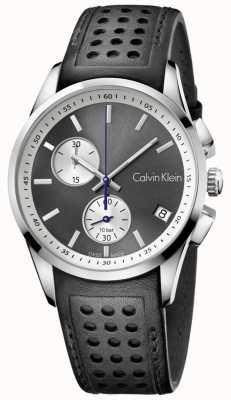 Calvin Klein Para hombre de cuero negro negrita cronógrafo K5A371C3