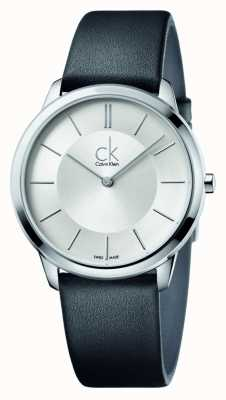 Calvin Klein Para hombre de la correa de cuero negro mínimos K3M211C6