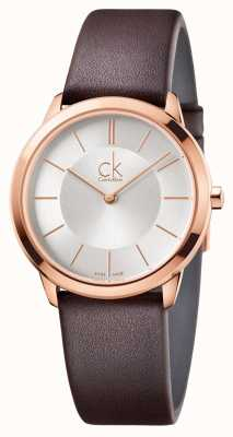 Calvin Klein Mens esfera de plata mínimo caja de oro rosa K3M226G6