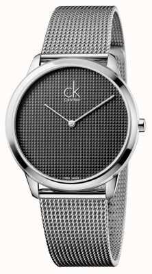 Calvin Klein Reloj para hombre de malla de plata mínimo K3M2112X