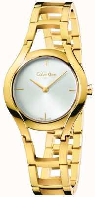 Calvin Klein Oro de las mujeres de clase plateado esfera blanca K6R23526