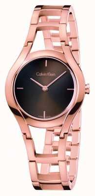 Calvin Klein reloj de las mujeres de clase chapado en oro rosa de diámetro de color marrón K6R2362K