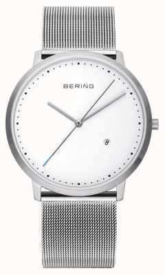 Bering esfera blanca correa de plata unisex 11139-004
