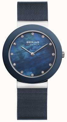 Bering Para mujer esfera azul azul de la correa 11435-387