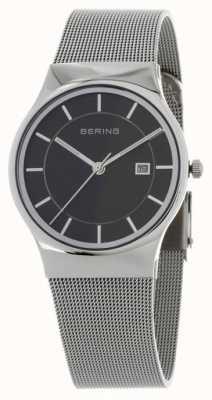 Bering Correa de plata para hombre con esfera negra 11938-002