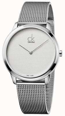 Calvin Klein esfera blanca pulsera mínima de malla K3M2112Y