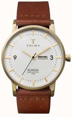 Triwa Unisex Klinga correa de cuero marrón de línea blanca KLST103-CL010213