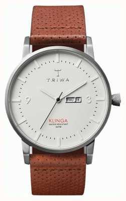 Triwa Unisex Klinga correa de cuero marrón de línea blanca KLST101-CD010212