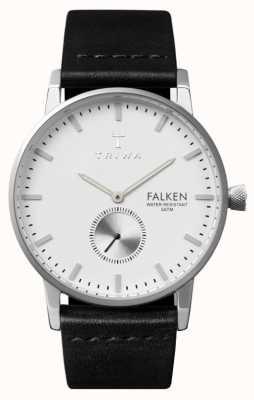 Triwa Mens Falken esfera blanca correa de cuero negro FAST103-CL010112