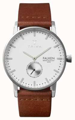 Triwa Mens Falken esfera blanca correa de cuero marrón FAST103-CL010212