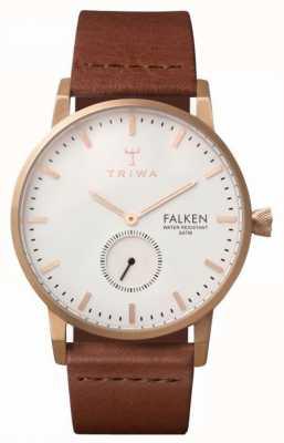 Triwa Falken unisex esfera blanca correa de cuero marrón FAST101-CL010214