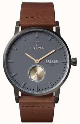 Triwa Mens falken marrón gris cuero dial FAST102-CL010213