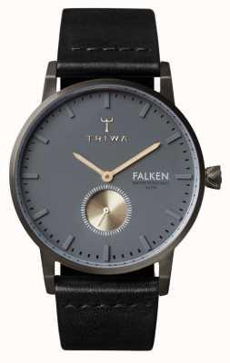 Triwa Mens Falken esfera gris correa de cuero negro FAST102-CL010113