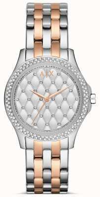 Armani Exchange Damas se levantaron oro y reloj de plata AX5249