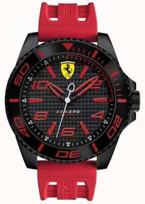 Scuderia Ferrari Mens correa de caucho negro esfera negra 0830308