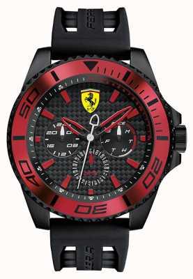 Scuderia Ferrari Para hombre correa de caucho negro esfera de color negro detalle en rojo 0830310