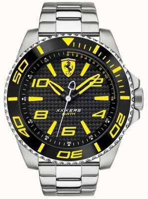 Scuderia Ferrari Mens correa de metal negro dial 0830330
