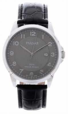 Pulsar Para hombre de cuero negro reloj de plata de la correa PS9447X1