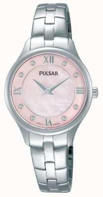 Pulsar Para mujer madre redonda rosa de la línea de perlas PM2197X1