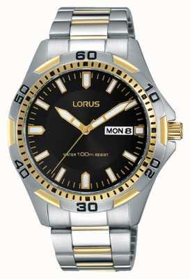 Lorus Mens esfera de color negro correa de dos tonos RXN20DX9