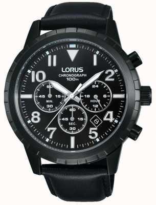Lorus Para hombre de la correa de cuero negro cronógrafo negro RT365FX9