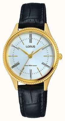 Lorus Para hombre esfera blanca correa de cuero negro clásico RRS68VX9