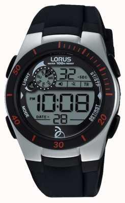 Lorus Novak fundación correa de silicona negro digitales R2375KX9