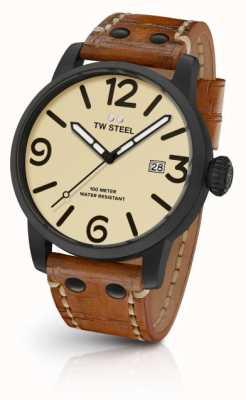 TW Steel Para hombre de cuero marrón de línea crema de la correa MS41